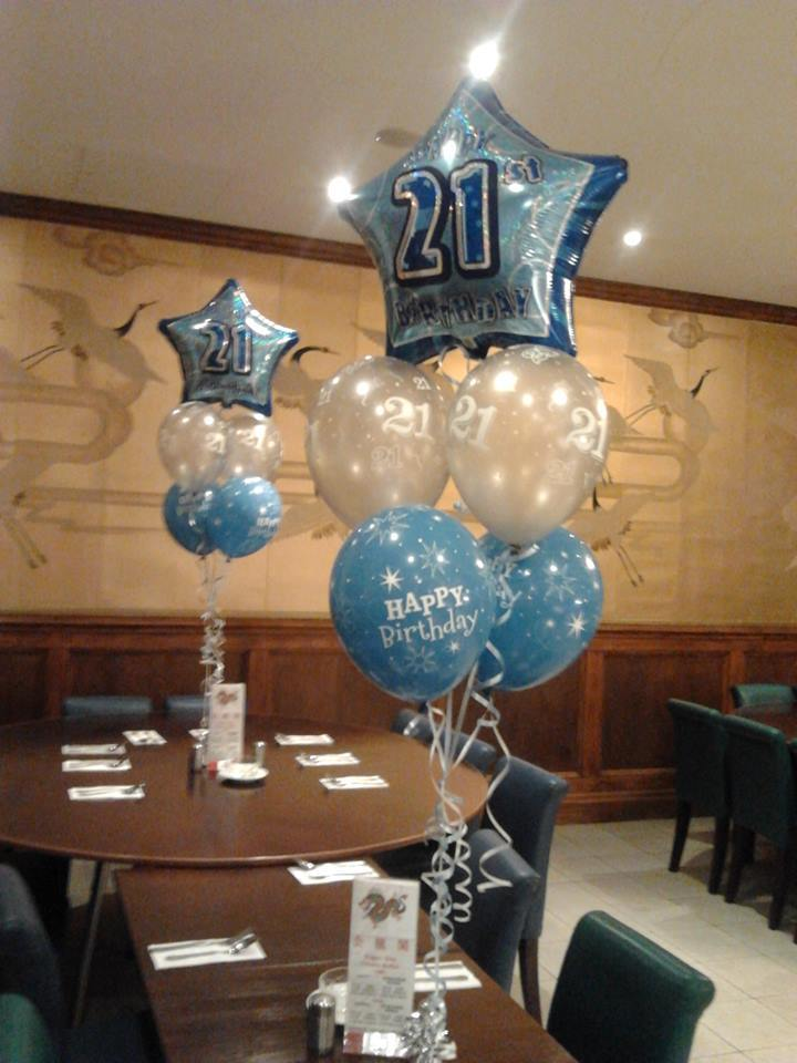 21 birthday, happy birthday balloon clusters table centrepiece