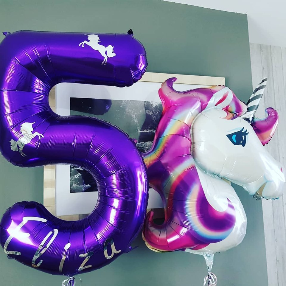 Personalised number 5 foil balloon and Unicorn balloon
