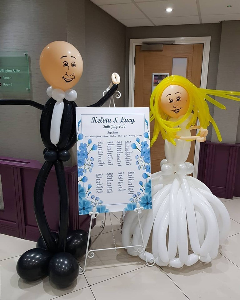 Bride and groom balloons, including Seat Plan